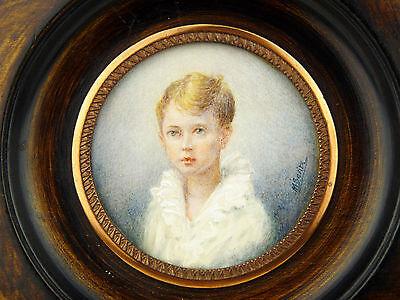 Miniature peinte portrait enfant signée MINIATURA Miniatur Miniaturen Child KIND