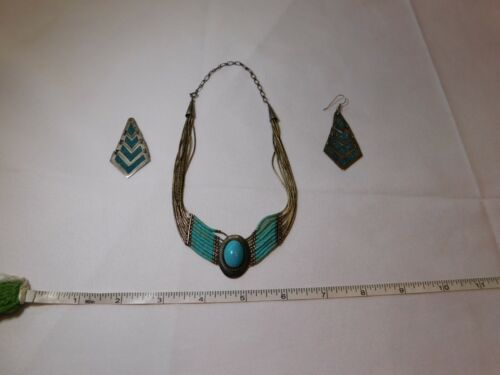 Vintage Sterling silver Turquoise Navajo choker necklace Mexico Earring inlay