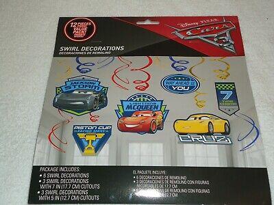 NEW DISNEY PIXAR CARS 3 SWIRL DECORATIONS 12 PIECES](Disney Cars Decorations)