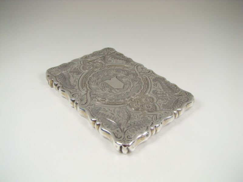 Lovely 1875 English Victorian Sterling Silver Card Case by George Unite