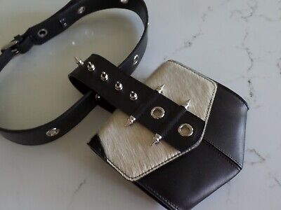 New Latest Chic OKHTEIN hair calf belt bag in black leather w/silver studs
