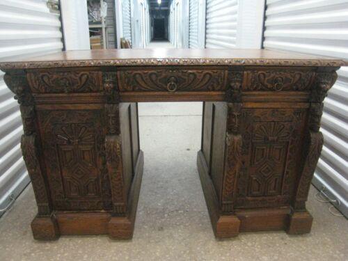 Antique Ornate Carved Oak  Desk