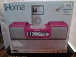 iHome Model iH6 AM-FM  Clock Radio with Ipod Docking Station Pink