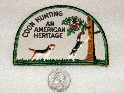 COON DOG HUNTING Embroidered Vintage Patch NEW Old Store Stock American Heritage