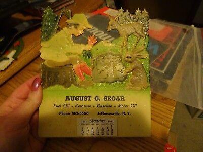 Vintage~Calendar~August G. Segar Oil Gasoline~Die cut~Embossed~Advertising