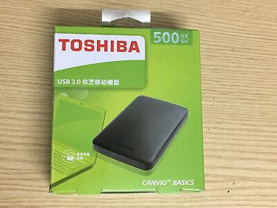NEW Toshiba  500GB Canvio Basics  USB3.0 Portable External Hard Disk Drive Black