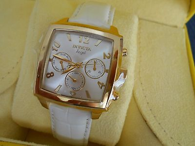 New Invicta Women's Square Angel  Chronograph Watch Gold, White Band Leather New