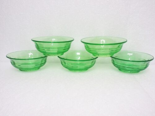 "5 Rarely Seen Green Circle 5 "" Flared Bowls  / Hocking Glass Co"