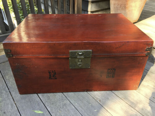 Antique Chinese Leather Trunk Table