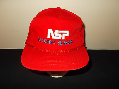Vtg 1980S Nsp Energy Electric Services Rope Style Leather Strapback Hat Sku25