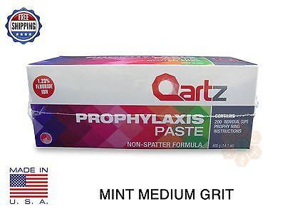 Qartz Prophy Paste Cups Mint Medium Grit 200box Dental Non Splatter Wflouride