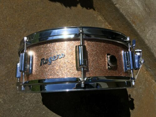 "NR MINT 1966 ROGERS CHAMPAGNE SPARKLE CLEVELAND OHIO 5X14"" TOWER SNARE DRUM."