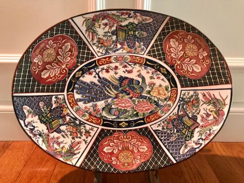 """Large Chinese Platter with Peacock Oval Design 18""""X14"""" Clean In Original Box"""