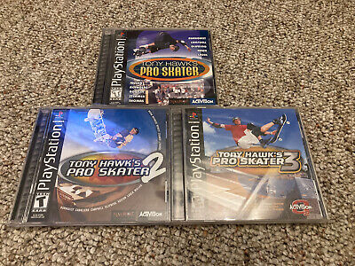 Sony Playstation Tony Hawk's Pro Skater 1 2 3 Black Label PS1 Complete Authentic