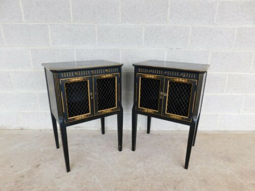 Union National Jamestown Black Lacquer Chinoiserie Decorated Nightstands a Pair