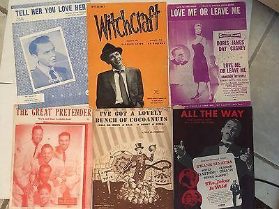 Lot of 6 vintage jazz sheet music Frank Sinatra & others 1950s