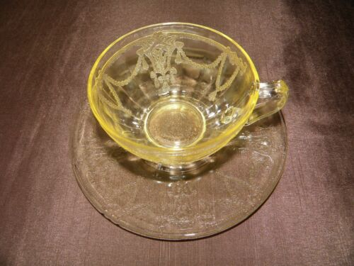 """#6 """"DEPRESSION GLASS""""  CAMEO BALLERINA CUPS & SAUCERS AMBER"""