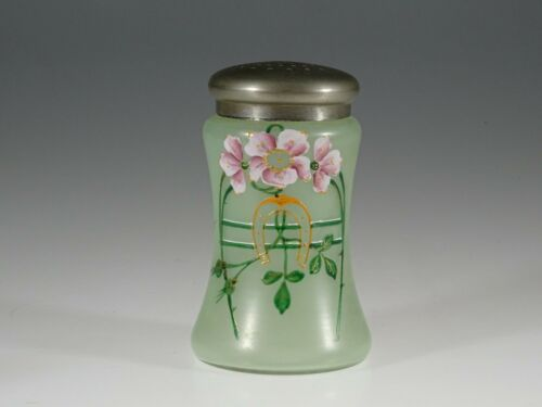 Vintage Czech Glass Handpainted Sugar Shaker on Green Ground Horseshoe c.1910