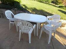 White  plastic  table  & 8 chairs Epping Ryde Area Preview