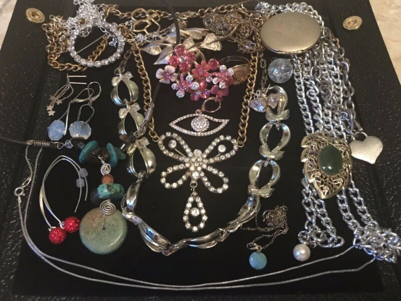 Jewelry Lot Sterling Silver, Crystal, Vintage & Modern Pieces
