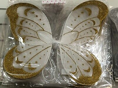 Gold White Large Glitter Fairy Wings Very Pretty Pixie Nymph Fairies Festival - Pretty Fairy Wings