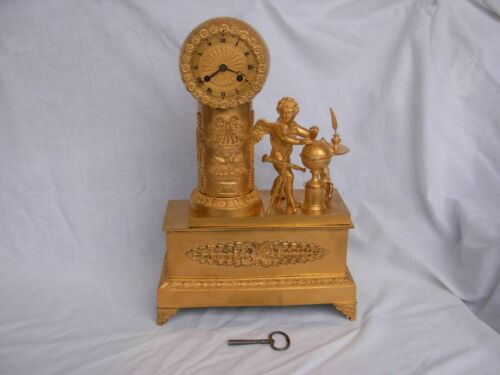 ANTIQUES FRENCH GILT BRONZE CLOCK,RESTORATION PERIOD,EARLY 19th CENTURY.