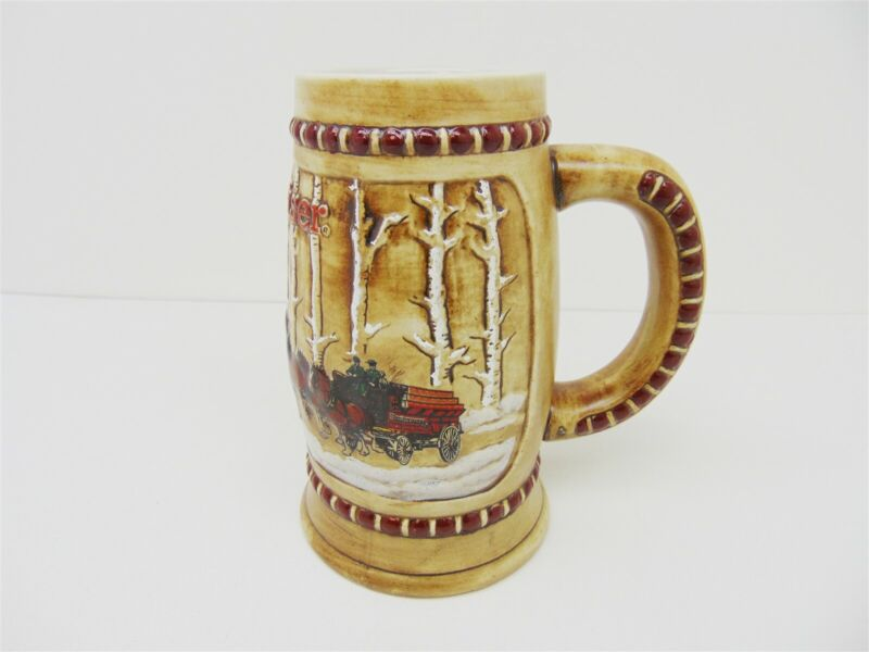 Vintage BUDWEISER Ceramarte 1981 Snow Covered Birch Trees Holiday Beer Stein