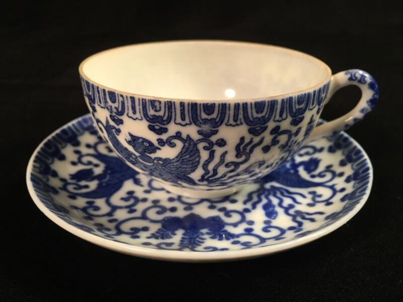 Beautiful Antique Blue and White Tea Cup and Saucer - Made in Occupied Japan