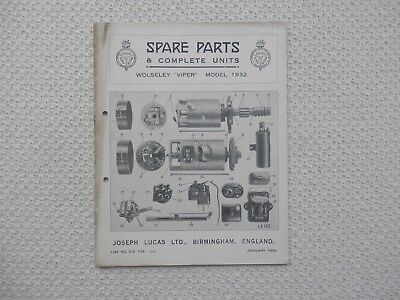 WOLSELEY VIPER 1932 LUCAS Parts List published January 1933 Dirty marks to cover
