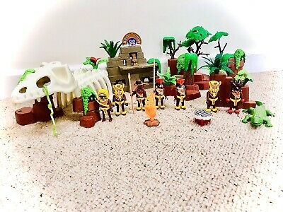 Playmobil Inca Jungle bundle: dino skeleton, figures, weapons, trees, crocodile,