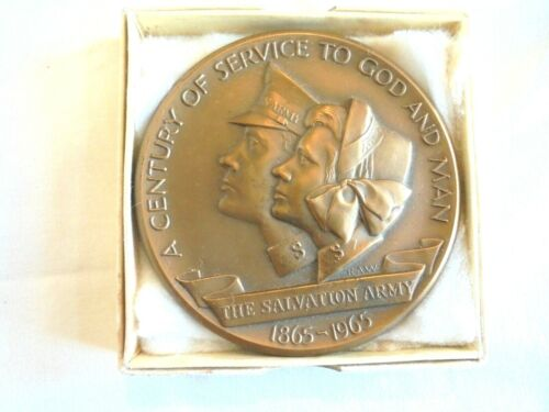 Vintage Salvation Army 1865-1965 Bronze Table Paperweight Table Medal