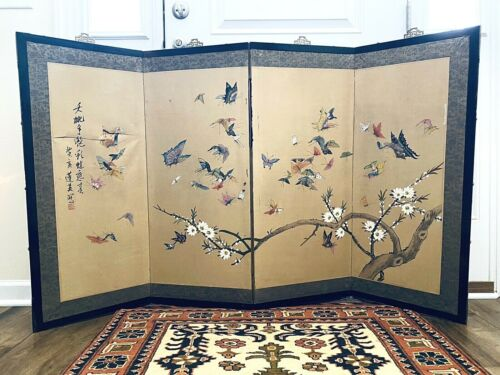 """Vintage Japanese 4 Panel Folding Screen 60"""" x 35.5"""" Butterflies Blossoms Hanging"""