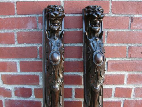 PAIR ANTIQUE OAK CARVED LIONS HEAD ARCHITECTURAL  PILLARS CORBELS SALVAGE