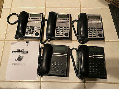 Lot Of 5 Nec Sl2100 Phone Ip7ww-12txh-b1 Telbk C Black Grey Phones Only