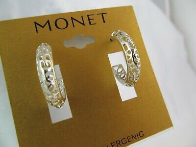 NWT MONET SILVER PLATED OPEN WORK SCROLL DESIGN MEDIUM HOOP EARRINGS, - Open Scroll Design Earrings