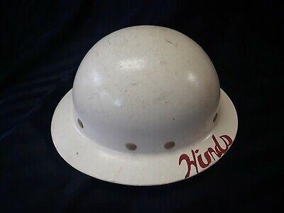 Vintage Superglas Fibre Metal Fiberglass Full Brim Pith Hard Hat-white