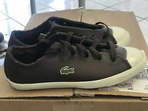Soulier cuir brun vrai Lacoste shoes sneakers real leather new 5