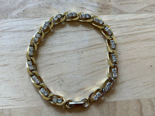 """Vintage Rhinestone Accented Gold Tone Chain Braclet - 7"""" Long"""