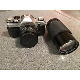 Canon AE-1 35mm SLR Film Camera with Toyo Zoom Lens and Accessories