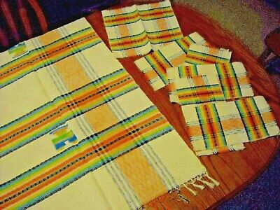 Vintage Plaid Fringed Tablecloth 6 Matching Napkins Very Heavy Fabric for sale  Hiawatha
