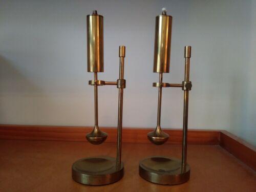 Pair of Brass Gimbal/Gyroscope Oil Lamps 1950