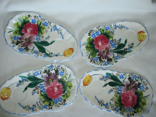 """4 Italian Floral Snack Plate Hand Painted Italy 10"""" x 6"""" maybe ERPHILA QUADRITA"""