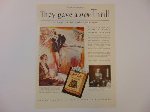 1930 OLD GOLD CIGARETTES On BROADWAY vintage art print ad