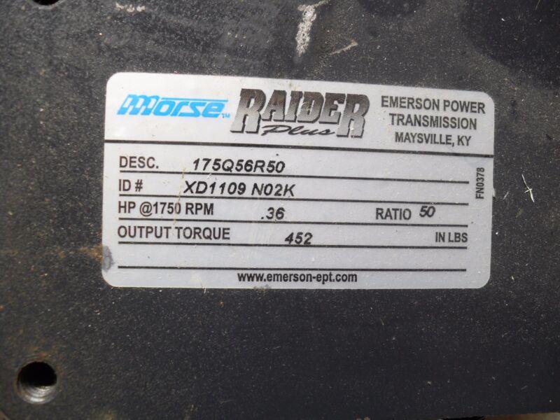"MORSE RAIDER 175Q56R50 Right Output, 7/8 "" output shaft, 50:1 ratio, 3/4"" input"