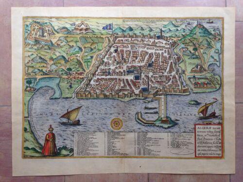 ALGIERS (ALGER) 1572 BRAUN HOGENBERG 16e CENTURY LARGE NICE ENGRAVED VIEW