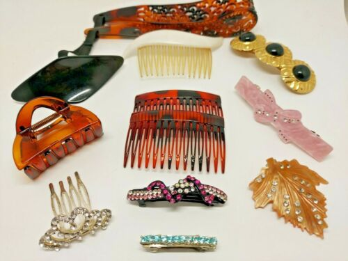 Vintage Hair Accessories Clip Barrette Comb Plastic Metal Rhinestones Headband