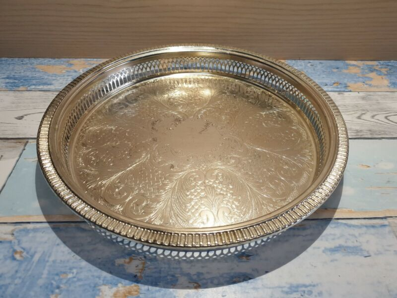 "Vintage Silver Plated Decorative Galleried 10"" Drinks Tray by Cavalier"