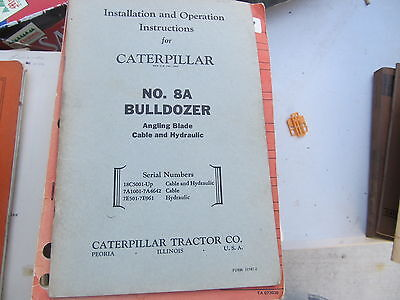 Caterpillar Vintage Operators Instructions Bookcatalog 8a Bulldozer
