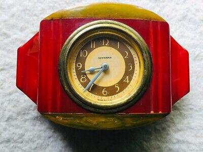 Vintage Bakelite Catalin New Haven Clock Tri- Colored