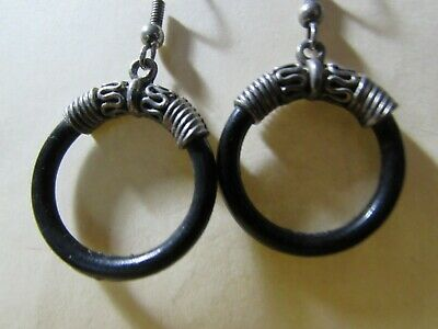 Pewter Dangle Pierced Earrings - VINTAGE pewter & black hoop dangle pierced earrings about 1 1/2